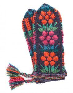 Neulo Kainuun värikkäät kukkalapaset | ET Knitting Patterns, Crochet Patterns, Knit Mittens, Colorful Flowers, Handicraft, Needlework, Knit Crochet, Projects To Try, Gloves