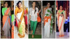 Bollywood Celebrities Tri Colour Sarees