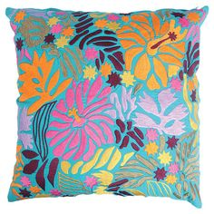 Transform your sofa or brighten up your master suite bedding with this vibrant cotton pillow. This stunning design showcases an embroidered floral motif.