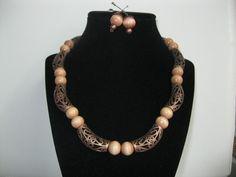 Collar cuentas, Collar con decoracion, Collar en madera, Collar en metal, collar bronce, collar para mujer, collar paa jovenes, accesorios de PekitasCreations en Etsy