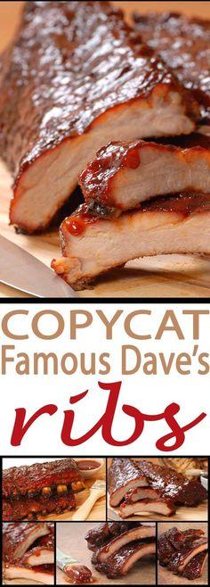 Copycat Famous Dave's Pit – Best BBQ Rib Recipes best grilled ribs recipe with this Copycat Famous Dave's best BBQ ribs recipe. Pork Rib Recipes, Grilling Recipes, Meat Recipes, Cooking Recipes, Smoker Recipes, Cooking Tips, Grill Meals, Best Bbq Recipes, Salmon Recipes