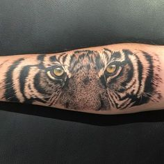 Tiger Tattoo by Craig Goss. A bit of fun with this tiger yesterday ! Ink splatter to add next !!!!! #greywashtattoo #tigertattoo @methodartcollective