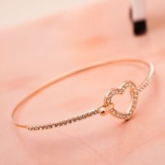 New Sweet Crystal Cutout Heart Alloy Plated Gold Women's Bangle