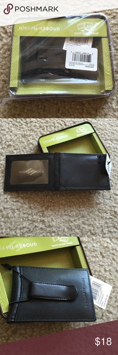 """Joseph Abboud Leather Flip Clip Wallet 100% leather 2 card slots, window ID, and money clip 4"""" (L) x 2.75"""" (W) x 0.5"""" (D) Spot clean Made in India Joseph abboud Bags Wallets"""