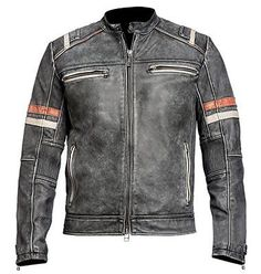 Shop a great selection of Mens Vintage Cafe Racer Retro Motorcycle Distressed Black Biker Leather Jacket. Find new offer and Similar products for Mens Vintage Cafe Racer Retro Motorcycle Distressed Black Biker Leather Jacket. Distressed Leather Jacket, Lambskin Leather Jacket, Vintage Leather Jacket, Biker Leather, Real Leather, Motorcycle Leather, Brown Leather, Leather Store, Leather Armor