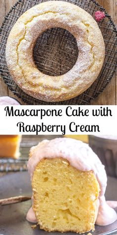 Mascarpone Cake, a moist Italian Cake perfect on it's own or served with a fresh Raspberry Cream sauce. An easy and delicious Dessert recipe. Homemade Cake Recipes, Delicious Cake Recipes, Yummy Cakes, Sweet Recipes, Dessert Recipes, Yummy Food, Baking Recipes, Italian Cake, Italian Desserts
