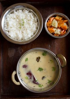 Gujarati Kadhi Recipe with step by step photos. Gujarati kadhi is thin and sweet as jaggery/sugar is added to it and no pakora is used unlike punjabi kadhi. Indian Veg Recipes, Gujarati Recipes, Veggie Recipes, Vegetarian Recipes, Cooking Recipes, Curry Recipes, Cooking Ideas, Fish Recipes, Delicious Recipes