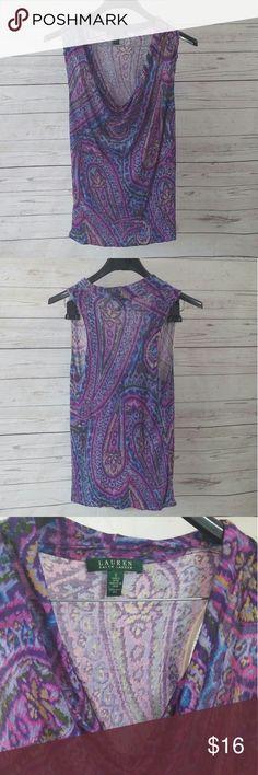 Ralph By Ralph Lauren purple sleeveless top Purple sleeveless printed tip. Size Small. Lauren by Ralph Lauren. Preloved Lauren Ralph Lauren Tops