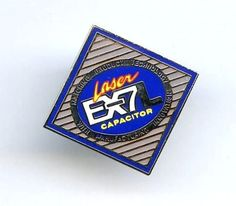 Laser EX7L Capacitor Advertising Silver Tone Enamel Lapel Tie Tack Pin Cooper #HeartSymbol