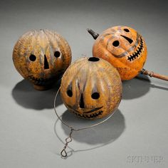 Three Painted Tin Jack-o'-Lantern Parade Lanterns | Sale Number 2744M, Lot Number 645 | Skinner Auctioneers