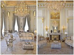 Wow!  Personally I could do without the gilded accents, but hey, sometimes a girl must suffer . . . love the mouldings, chandelier, fireplace screen, curved lines of the furniture  . . . wow!  (Fleur de Lys, 41,000-square-foot estate)