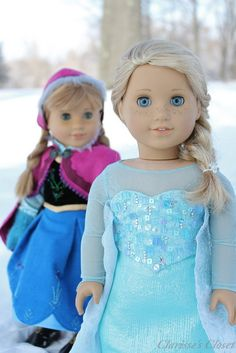 American Girl Dolls : Image : Description Anna & Elsa by Clarisse's Closet. Disney's Frozen beautiful sets on customized American Girl dolls ♥ American Girl Outfits, Ropa American Girl, My American Girl Doll, American Girl Doll Pajamas, American Girl Crafts, Girl Doll Clothes, Doll Clothes Patterns, Clothing Patterns, Barbie Clothes