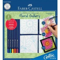 Faber-Castell Creative Studio Watercolor Canvas Art Floral Gallery Kit by Faber-Castell. $12.60. Complete kit, just add water. Fully illustrated instructions included. Paintbrush included. Includes 5 art grip aquarelle pencils. Includes 4 canvas boards and mounting boards. Watercolor Canvas Art kits are complete kits for making a series of miniature watercolor canvas paintings. Just add water and your creative expression, and we provide the rest Incluces fully illustrated instr...