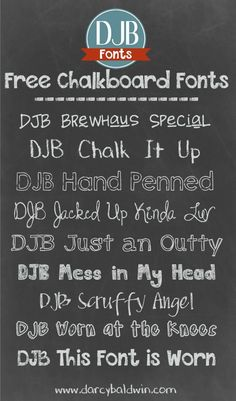 Everyone loves a chalkboard font! They are so versatile to use! Check out these chalkboard-friendly fonts from DJB Fonts! They are free for personal use; commercial licensing is available.  BONUS! I added one more to the list!