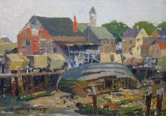 """""""Drying Gillnets, Arnold's Wharf, East Gloucester,"""" James Jeffrey Grant, oil on canvas board, 12 x 16"""", Vose Galleries."""
