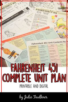 Fahrenheit 451 Unit Plan, Literature Guide, Printable and Digital, Lesson Plans, Teaching Ideas