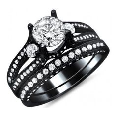 2.33ct Round Diamond Engagement Ring Bridal Set 14k Black Gold / Front... ($4,695) ❤ liked on Polyvore
