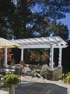 I love this arbor and the semi-enclosed patio!