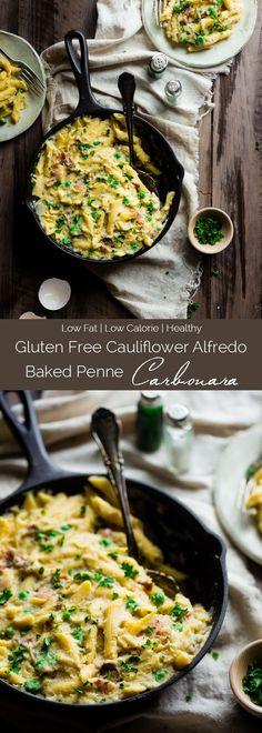 Gluten Free Cauliflower Alfredo Baked Penne Carbonara - This easy pasta bake uses cauliflower alfredo sauce to make it extra creamy! You'll never believe it's dairy/gluten free, low fat and packed with hidden veggies! | Foodfaithfitness.com | @FoodFaithFit