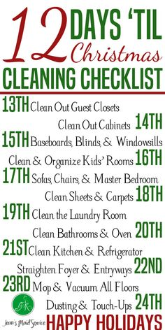 You are just 12 days away from hosting the best Christmas ever. Don't stress about the cleaning. Break it down into manageable chunks. http://jeansmaidservice.com/2015/12/13/12-days-til-christmas-guests-cleaning-checklist/