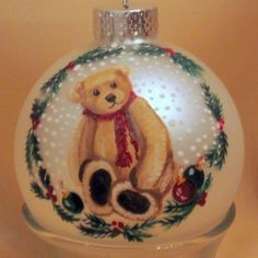 Personalized  Handpainted Teddy Bear Christmas Ornament