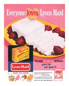 Everyone loves Lyons Maid! (And those late 50s fonts are pretty fab, too!) #vintage #1950s #ice_cream #ads