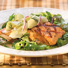 Grilled Salmon with Cucumber Dill Salad over Field Greens - Wegmans