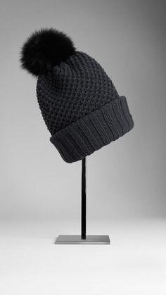 Burberry Fur Pom-pom Wool Cashmere Beanie Pom Pom Beanie Hat 95debda3f3d