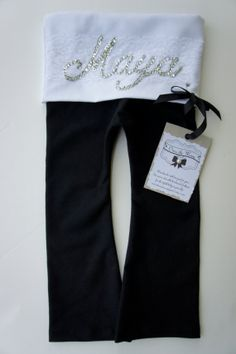 Baby Girl Black Yoga Pants with Custom by OverTheMoonApparel, $40.00