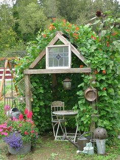 Bean house. Build a primtive frame covered it with chicken wire and let Scarlett Runner beans take over.