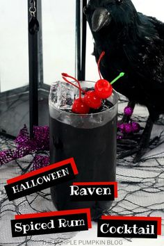 This jet-black Raven Cocktail is made with Jägermeister and rum and is a fantastic drink to serve at Halloween parties! #HalloweenCocktails #ThePurplePumpkinBlog Halloween Party Drinks, Black Food Coloring, Cheap Halloween Decorations, Purple Pumpkin, Smoothie Makers, Spiced Rum, Cocktail Making, Signature Cocktail, Recipe Cards