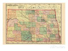 1906, State Map, North Dakota, United States Giclee Print