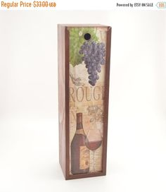 Christmas Sale Wooden decoupage wine box wooden wine by PastimeArt