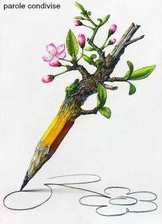Kill a tree 🌲 to draw a flower 🌺! Art And Illustration, Desenho New School, Metamorphosis Art, Environmental Art, Surreal Art, Painting & Drawing, Watercolor Art, Fantasy Art, Cool Art