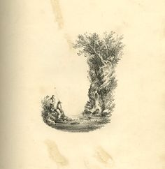 A Mid-19th C Landscape Alphabet. 200 years ago, British artist L.E.M. Jones created a beautiful font inspired by nature which he called 'The Landscape Alphabet'  printed by Charles Joseph Hullmandel. Letter J: bottom curve formed of a lake with two fishermen standing on the left, right outline shaped by a rock with small waterfalls and surmounted with trees stretching to the left.