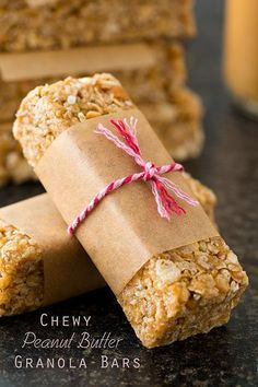 Easiest Microwave Chewy Peanut Butter Granola Bars. Can use semi crushed cherries in place of rice krispies.