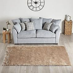 Glitter Mirrored 50cm Wall Clock Silver   Dunelm Living Room Photos, Living Room Modern, Rugs In Living Room, Living Spaces, Double Bunk Beds, Circle Rug, Love Seat, Ottoman, Champagne