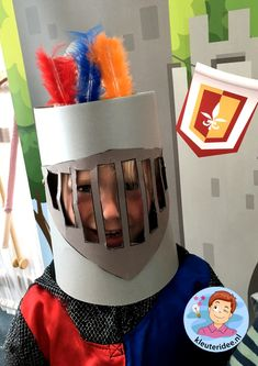 Helmet for a knight knights and noblewomen theme, kindergarten expert Toddler Themes, Toddler Crafts, Preschool Crafts, Crafts For Kids, Arts And Crafts, Camping Theme, Camping Crafts, Castle Crafts, Fairy Tale Crafts