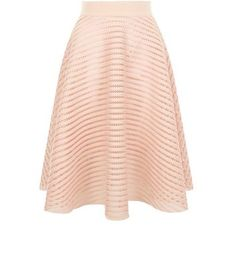 """Great for elevating an evening wardrobe, pair this mesh stripe midi skirt with a white high neck cami and ankle strap heels.- Mesh stripe design- Flared design- Zip back fastening- Midi length- Model is 5'8""""/176cm and wears UK 10/EU 38/US 6"""