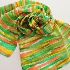 Hand Painted Silk Scarf - Handpainted Scarves Olive Garden Green Kelly Orange Lemon Lime Yellow Gold White Citrus Stripe