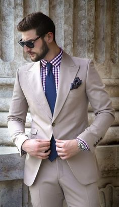 Latest Coat Pant Designs Khaki Bridegroom Formal Dapper Custom Made Slim Fit Wedding Suits For Men 2 Pieces Masculino Khaki Suits, Beige Suits, Groom Suits, Sharp Dressed Man, Mens Fashion Suits, Mens Suits, Tan Suit Men, Fashion Outfits, Prom Blazers