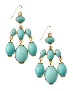 Chandelier Stone Earrings, Turquoise by Fragments at Last Call by Neiman Marcus.
