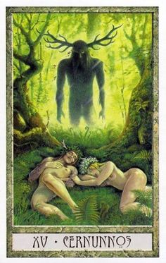 Cernunnos, from the Druidcraft tarot. I have this deck, haven't used it for ages. Will dig it out tomorrow.