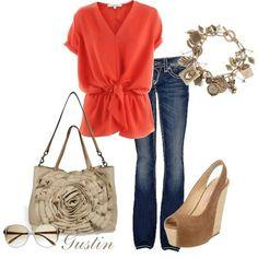 Cute orange top #Polyvore