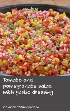 This salad is so crunchy and sweet you can eat it with a spoon, and never stop. Tomato and pomegranate work so very well together, so give this recipe a go next time you notice them on your grocer's shelves. Pomegranate Salad, Pomegranate Molasses, Tomato Vine, Tomato Salad Recipes, White Wine Vinegar, Dressing Recipe, Cherry Tomatoes, Spoon