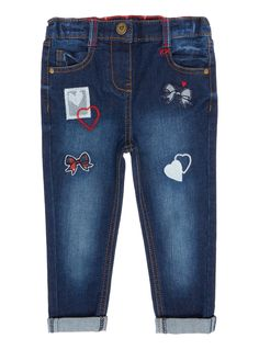 With cute patchwork details and red embroidery, these cotton-rich jeans will make an stylish addition to her everyday collection. Girls denim scottie dog jean Cotton rich Red embroidery Patchwork details Heart button fastening Stretch waistband Rolled contrast cuffs Five pockets Keep away from fire