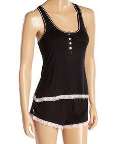 Look at this #zulilyfind! Black Lace-Trim Sweetness Short Pajama Set #zulilyfinds