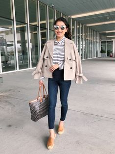 crop trench coat casual airport outfit