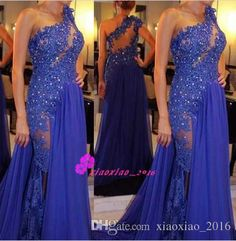 See Through 2016 Asymmetrical Evening Wear Dresses Sheer One Shoulder Illusion Back Lace Crystal Blue Chiffon Plus Size Formal Party Gowns Online with $125.43/Piece on Xiaoxiao_2016's Store | DHgate.com