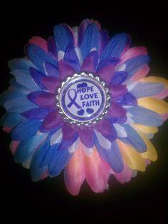 Rett Syndrome awareness flower hair clip by SkyenneHairFlowers, $4.00